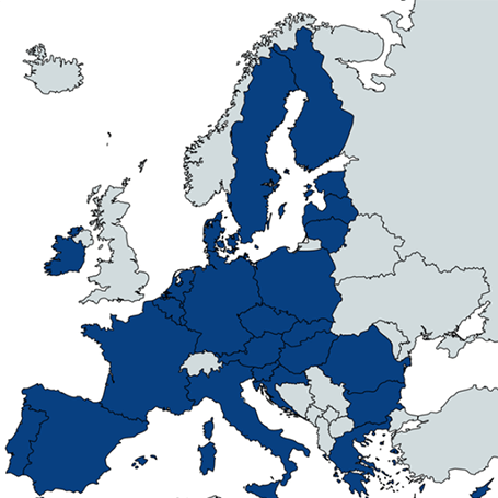 The map of Europe, with a few dark colored countries in Europe.